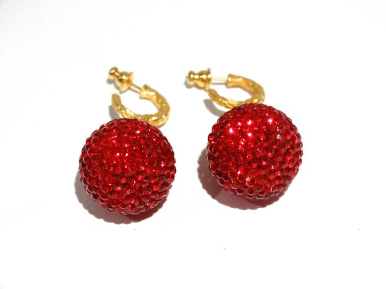 1990s Deanna Hamro Ruby Red Diamante Swaroski Crystal Ball Earrings In Good Condition For Sale In Scottsdale, AZ