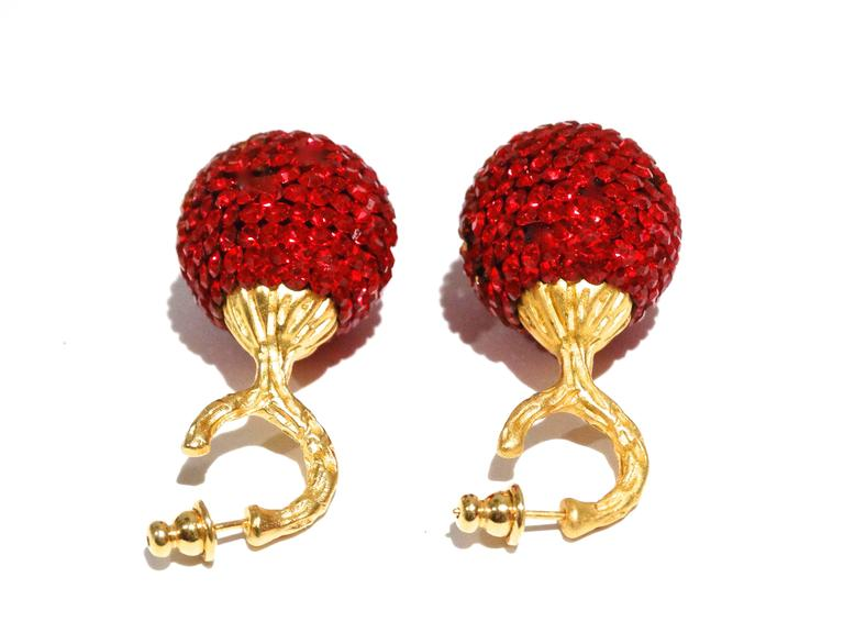 1990s Deanna Hamro Ruby Red Diamante Swaroski Crystal Ball Earrings For Sale 1