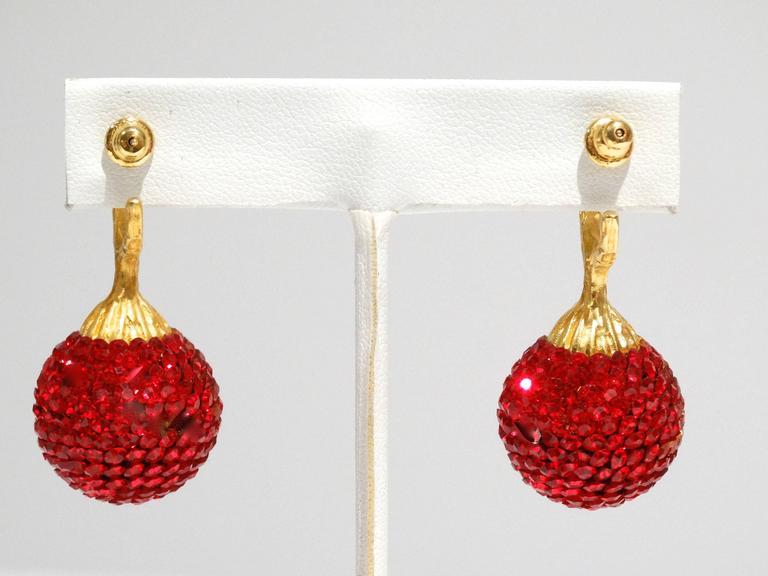 Women's 1990s Deanna Hamro Ruby Red Diamante Swaroski Crystal Ball Earrings For Sale