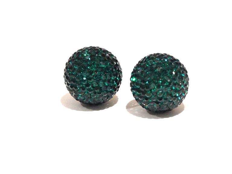 1990s Deanna Hamro Emerald Green Diamante Swaroski Crystal Ball Earrings  For Sale 2