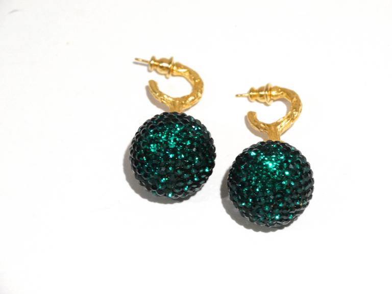 1990s Deanna Hamro Emerald Green Diamante Swaroski Crystal Ball Earrings  In Good Condition For Sale In Scottsdale, AZ