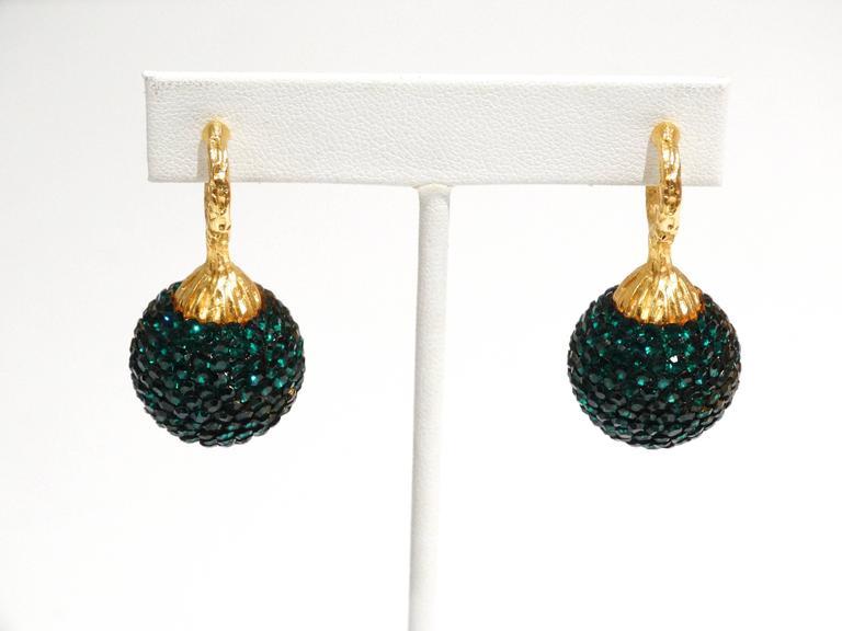 1990s Deanna Hamro Emerald Green Diamante Swaroski Crystal Ball Earrings  For Sale 1