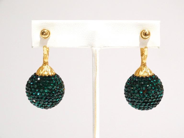1990s Deanna Hamro Emerald Green Diamante Swaroski Crystal Ball Earrings  For Sale 3