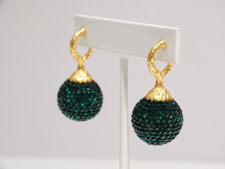 1990s Deanna Hamro Emerald Green Diamante Swaroski Crystal Ball Earrings  For Sale 4