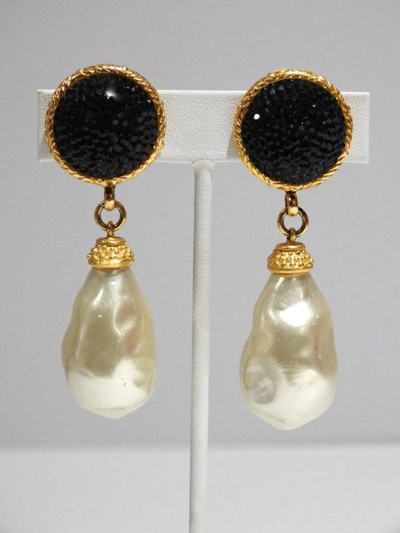 1990s Deanna Hamro Black Crystal Diamente Gold Tone Earrings For Sale 1