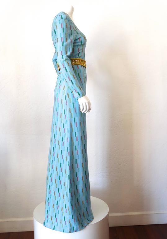 Super Model Length 1970s Missoni Multicolor Rectangle Pattern Knit Lame Gown  2