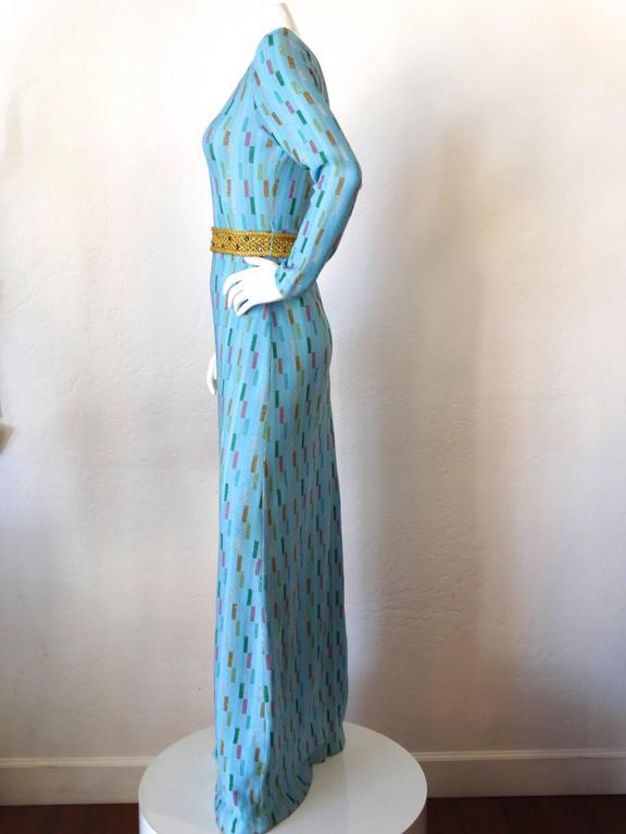 Super Model Length 1970s Missoni Multicolor Rectangle Pattern Knit Lame Gown  4