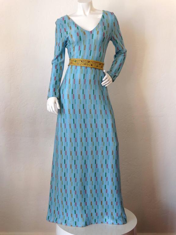 Super Model Length 1970s Missoni Multicolor Rectangle Pattern Knit Lame Gown  5
