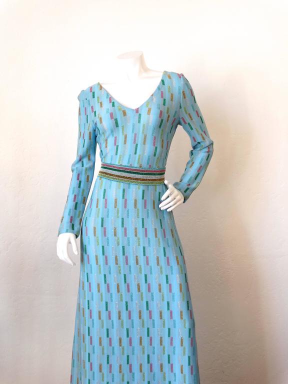 Super Model Length 1970s Missoni Multicolor Rectangle Pattern Knit Lame Gown  3