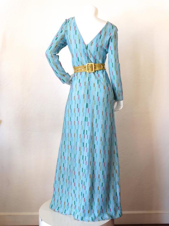 Super Model Length 1970s Missoni Multicolor Rectangle Pattern Knit Lame Gown  7
