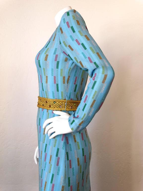 Super Model Length 1970s Missoni Multicolor Rectangle Pattern Knit Lame Gown  6