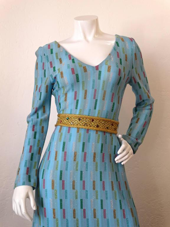 Super Model Length 1970s Missoni Multicolor Rectangle Pattern Knit Lame Gown  8