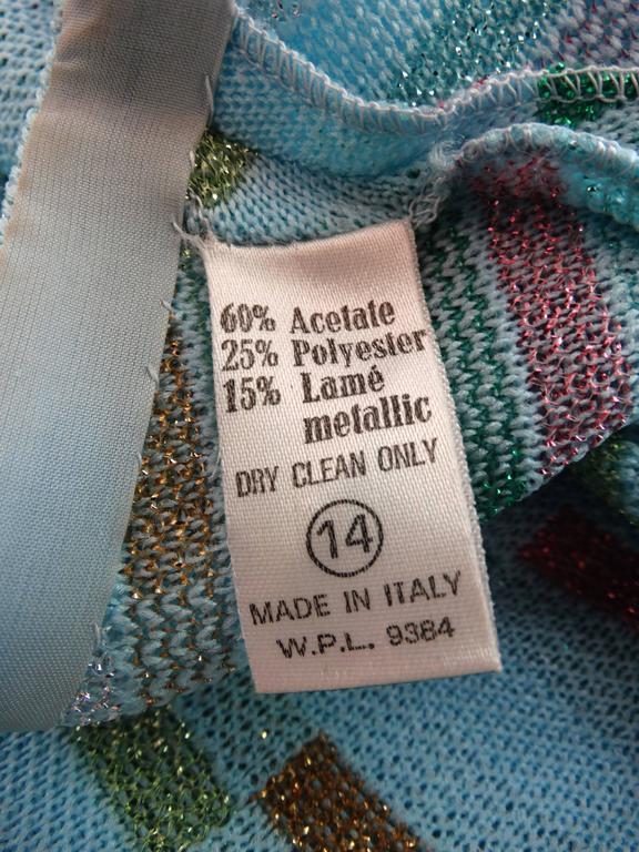 Super Model Length 1970s Missoni Multicolor Rectangle Pattern Knit Lame Gown  9