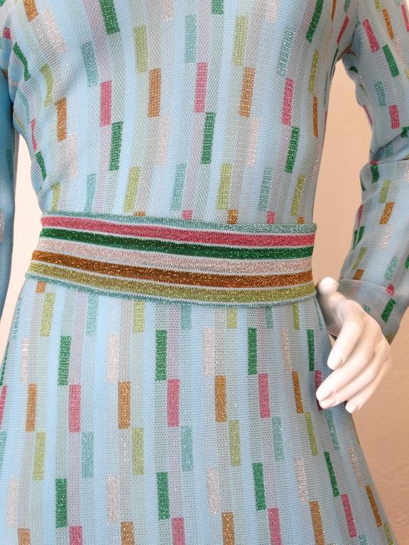 Super Model Length 1970s Missoni Multicolor Rectangle Pattern Knit Lame Gown  10