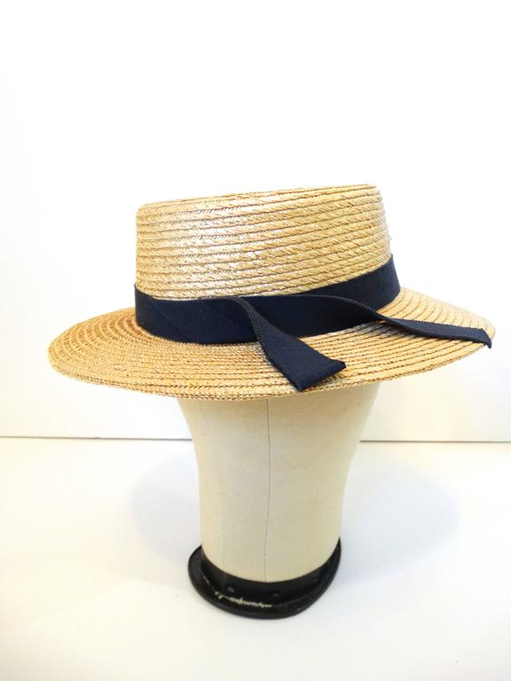 Women's Rare 1980s Yves Saint Laurent Rive Gauche Straw Boater Hat  For Sale