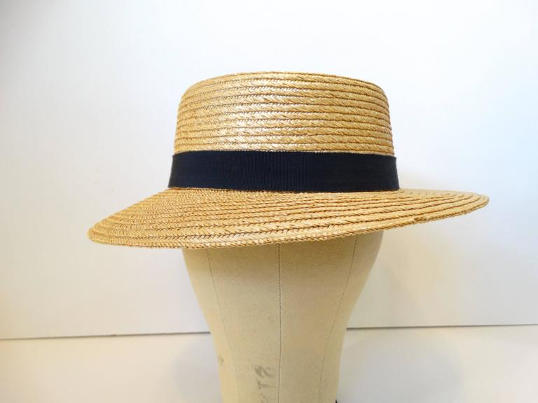 Rare 1980s Yves Saint Laurent Rive Gauche Straw Boater Hat  In New Condition For Sale In Scottsdale, AZ