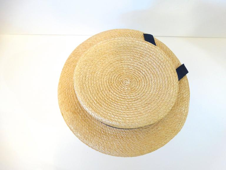 Beige Rare 1980s Yves Saint Laurent Rive Gauche Straw Boater Hat  For Sale