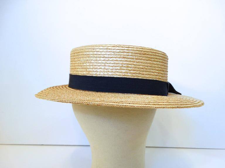 Rare 1980s Yves Saint Laurent Rive Gauche Straw Boater Hat  For Sale 3