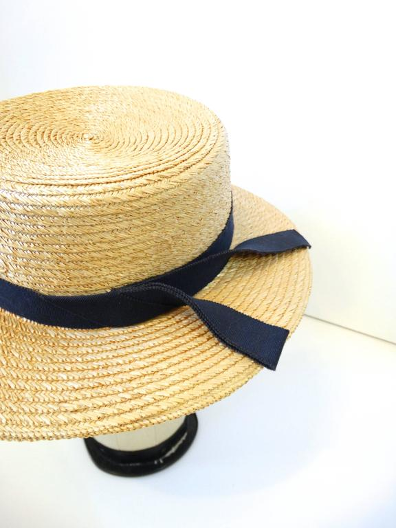 Rare 1980s Yves Saint Laurent Rive Gauche Straw Boater Hat  For Sale 2