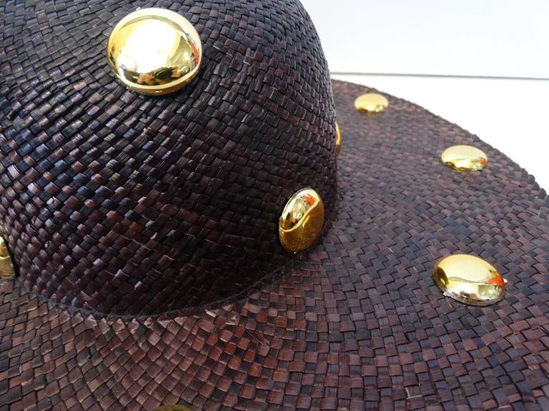 Saks Fifth Avenue Purple Wide Brim Hat with Gold Studs, 1980s   In Good Condition For Sale In Scottsdale, AZ