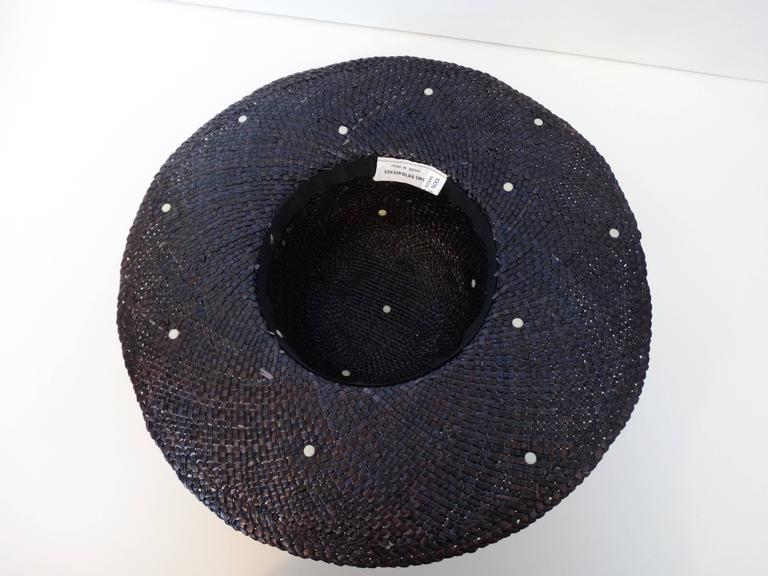 1980's Saks Fifth Avenue Purple Wide Brim Hat with Gold Studs  5
