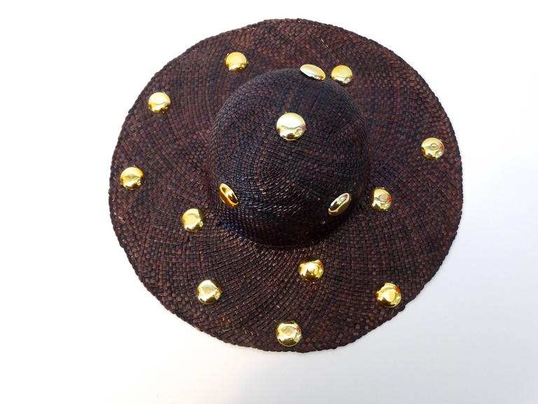 Saks Fifth Avenue Purple Wide Brim Hat with Gold Studs, 1980s   For Sale 2