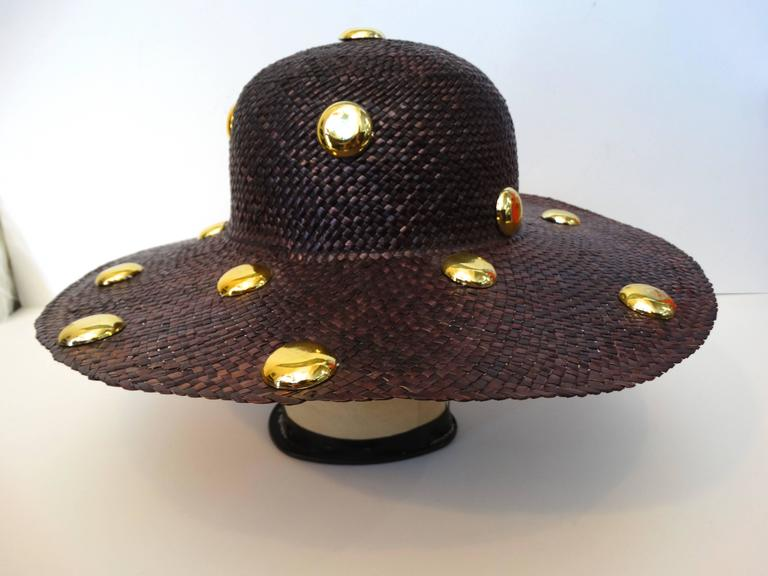 Black Saks Fifth Avenue Purple Wide Brim Hat with Gold Studs, 1980s   For Sale