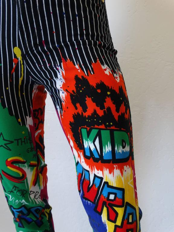 1990s Versace Graphic Graffiti Pinstripe Jeans 5
