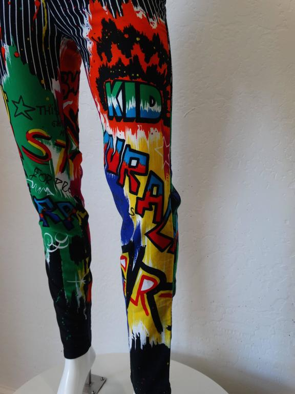 1990s Versace Graphic Graffiti Pinstripe Jeans 7