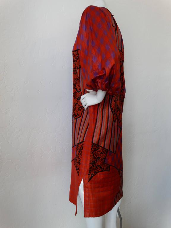 1980s Diane Freis Runway Patchwork Tent Dress In Excellent Condition For Sale In Scottsdale, AZ