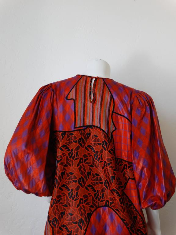 1980s Diane Freis Runway Patchwork Tent Dress For Sale 1