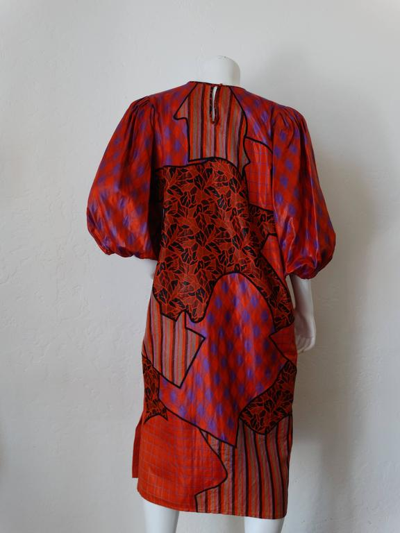 1980s Diane Freis Runway Patchwork Tent Dress For Sale 3