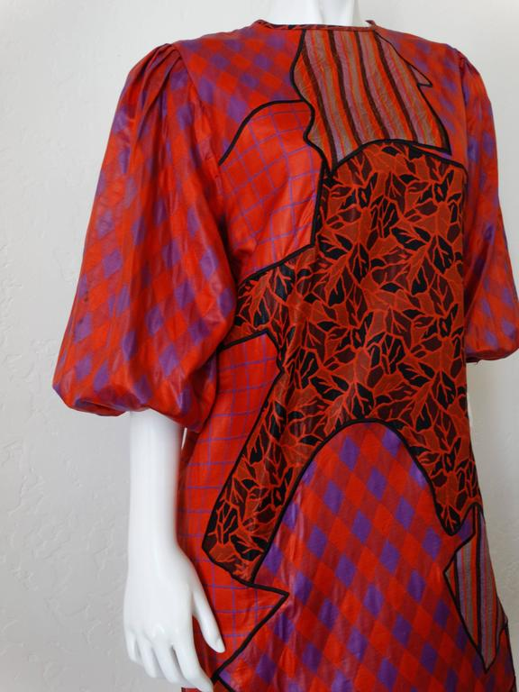 Red 1980s Diane Freis Runway Patchwork Tent Dress For Sale