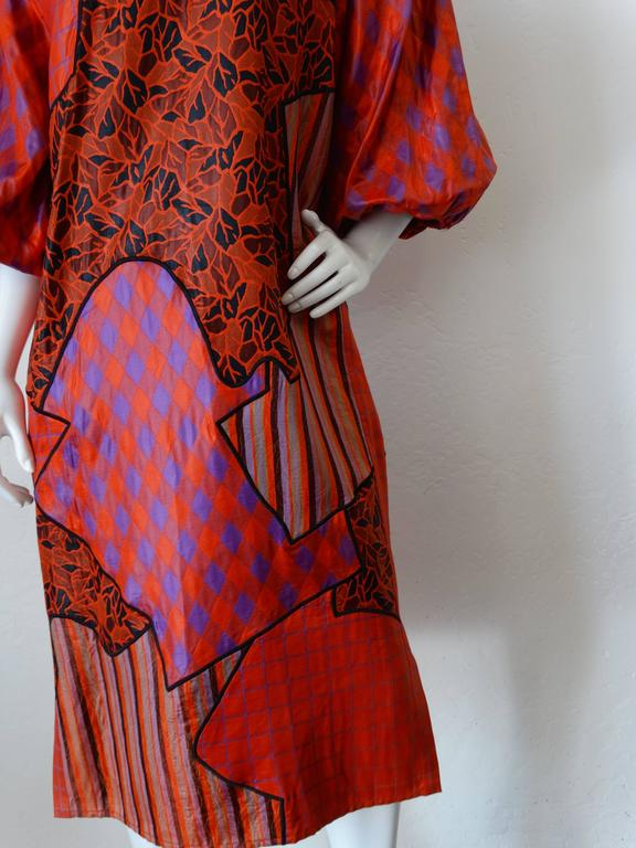 1980s Diane Freis Runway Patchwork Tent Dress For Sale 2