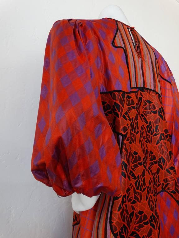 1980s Diane Freis Runway Patchwork Tent Dress For Sale 4