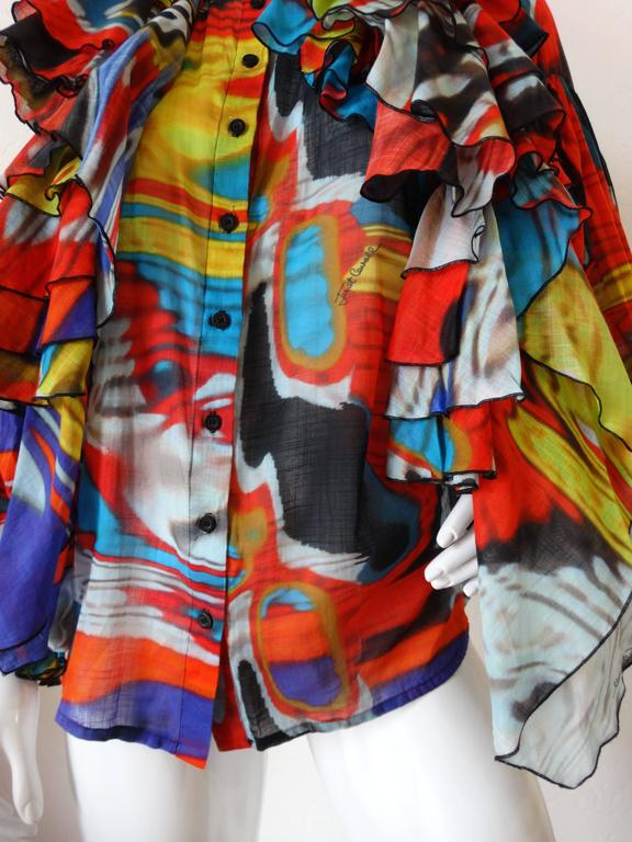 Robert Cavalli Camicia Ruffle Top with Balloon Sleeves  For Sale 2