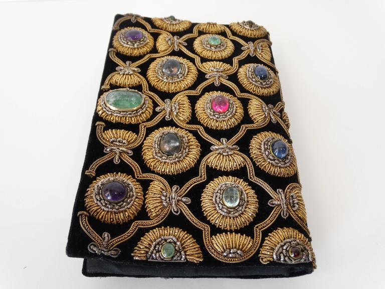 Rare 1960s Zardozi Zari Gemstone Clutch At 1stdibs