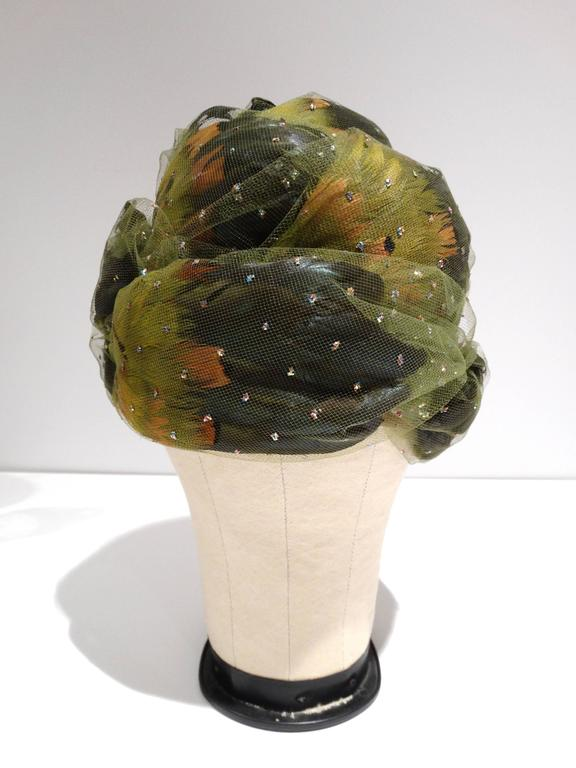 Christian Dior Chapeaux Feathered Turban, 1960s   In Excellent Condition For Sale In Scottsdale, AZ