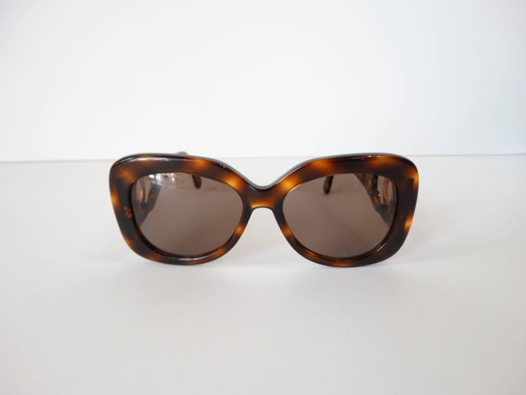 1990s Chanel Tortoise Shell Mod Sunglasses  3
