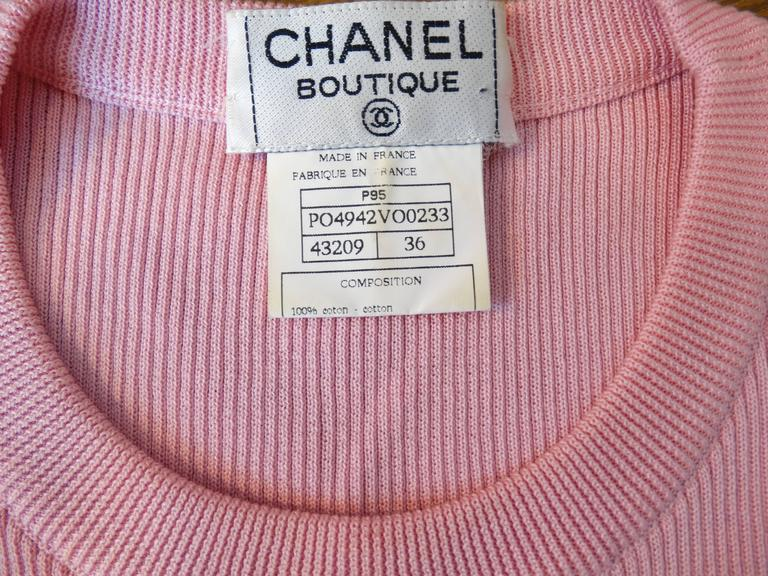 1990s Chanel Baby Pink Sleeveless Cropped Top 6