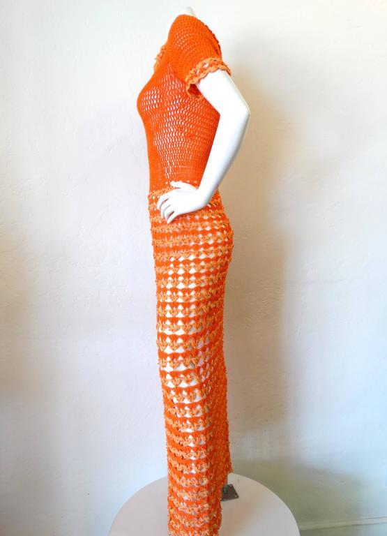 Women's Fabulous 1970s Orange Crochet Gown For Sale