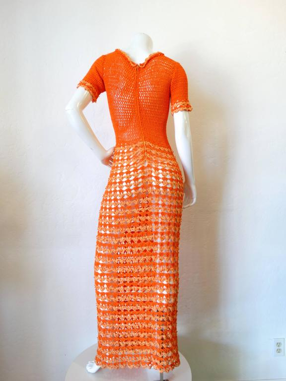 Fabulous 1970s Orange Crochet Gown For Sale 3