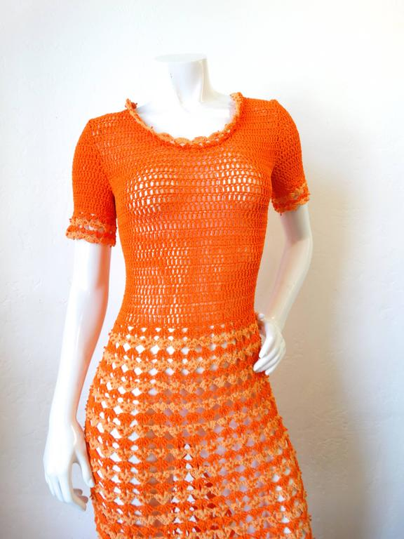 Fabulous 1970s Orange Crochet Gown In Excellent Condition For Sale In Scottsdale, AZ
