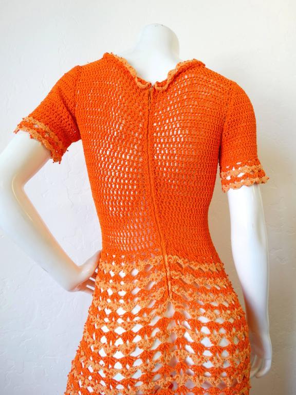 Fabulous 1970s Orange Crochet Gown For Sale 4