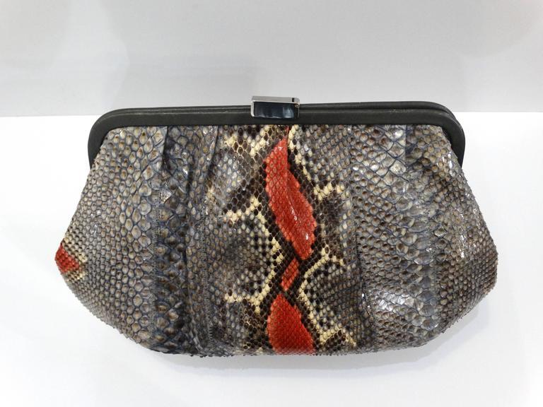 Black Rare 1980s Fendi Snakeskin Crossbody Bag For Sale