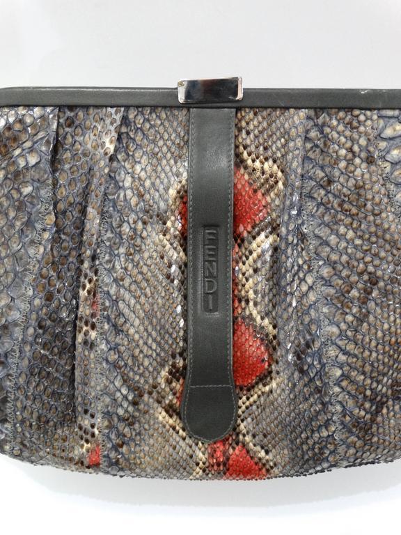 Rare 1980s Fendi Snakeskin Crossbody Bag For Sale 1