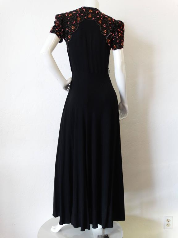 1940s Black Glads Beaded Gown  For Sale 5