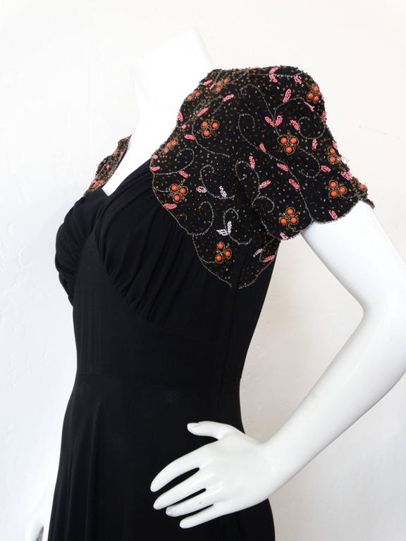 1940s Black Glads Beaded Gown  In Excellent Condition For Sale In Scottsdale, AZ