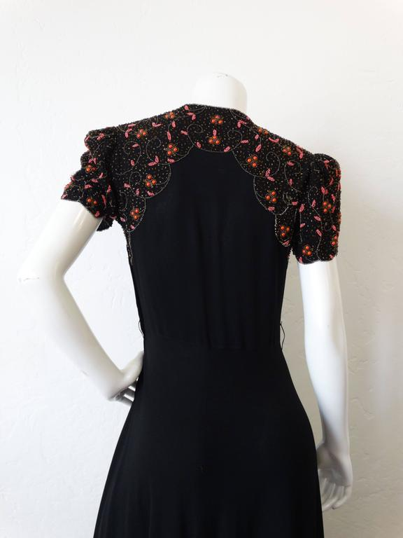 Women's 1940s Black Glads Beaded Gown  For Sale