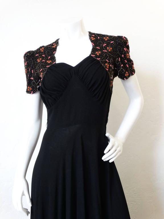 1940s Black Glads Beaded Gown  For Sale 1